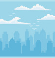 cityscape urban towers flying birds clouds sky vector image