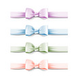 collection pastel colors silk bows with ribbons vector image vector image