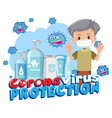 coronavirus protection banner with old man vector image vector image