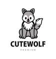 cute wolf cartoon logo icon vector image vector image