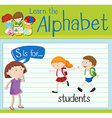 Flashcard letter S is for students vector image vector image