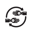 Flat icon in black and white hand exchange coins vector image vector image