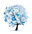 floral tree winter colors sketch for your design vector image vector image
