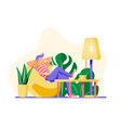 freelancer man with laptop in beanbag chair vector image