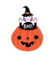 funny halloween print design with purple hair vector image