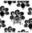 Hand drawn turkey silhouettes seamless pattern vector image