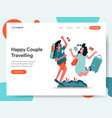 happy couple travelling concept vector image vector image