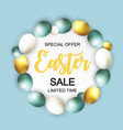 happy easter cute sale poster background with eggs vector image vector image