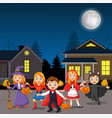 happy halloween party kids wearing costumes vector image vector image