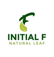 initial letter f and leaf logo icon design vector image vector image