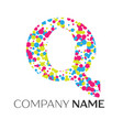 letter q logo with blue yellow red particles vector image vector image