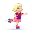 Little girl rides on roller skatesTeen rides on vector image vector image