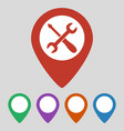 map pointer with service icon on grey background vector image vector image