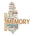 Memory upgrade text background word cloud concept