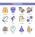 menstrual pain icon set in line style vector image