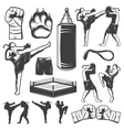 Muay Thai Monochrome Elements vector image