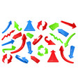 multicolored 3d glossy arrows pointing signs vector image vector image