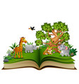 open book with animals cartoon and big tree vector image vector image
