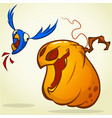 pumpkin catching the bird vector image vector image