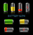 realistic icon set battery level indicators vector image vector image