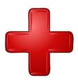 red bright plus volumetric mathematical symbol vector image vector image