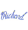 richard name lettering tinsels vector image vector image