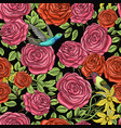 seamless pattern roses with leaves and buds vector image vector image