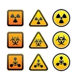 Set hazard warning radiation symbols vector image