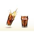 splash cola soda cold tea or coffee with ice vector image vector image