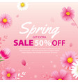 spring sale banner with blooming flowers vector image vector image