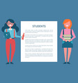 students poster set place for text in frame female vector image vector image