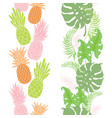 Tropical pineapples leaves borders frames set
