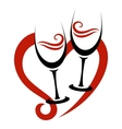 Two Abstract Glasses of Red Wine Heart vector image