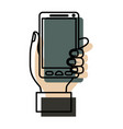 watercolor silhouette of hand holding smartphone vector image vector image