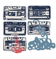 with vintage cassettes tapes old music vector image