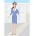 Woman stewardess standing in airport vector image