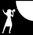 woman with megaphone woman silhouette with speech vector image vector image