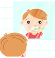 happy cute boy cleaning his teeth with toothpaste vector image