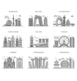Icons Chinese Major Cities Flat Style vector image