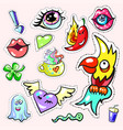 pop art stickers collection set fashion patch vector image