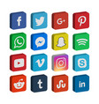3d collection of social media icon template
