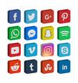 3d collection social media icon template vector image vector image