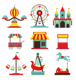 amusement park objects flat icons set vector image