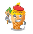 artist scoop banana ice cream with cartoon