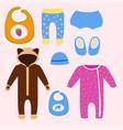baby clothes icon set design textile casual vector image vector image