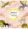 Background with savanna animal vector image