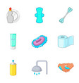 bathroom equipment icons set cartoon style vector image vector image