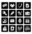 Black Chat Application and communication Icons vector image vector image