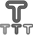 Black line t logo design set vector image vector image