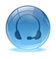 Blue abstract 3d headset icon vector image vector image